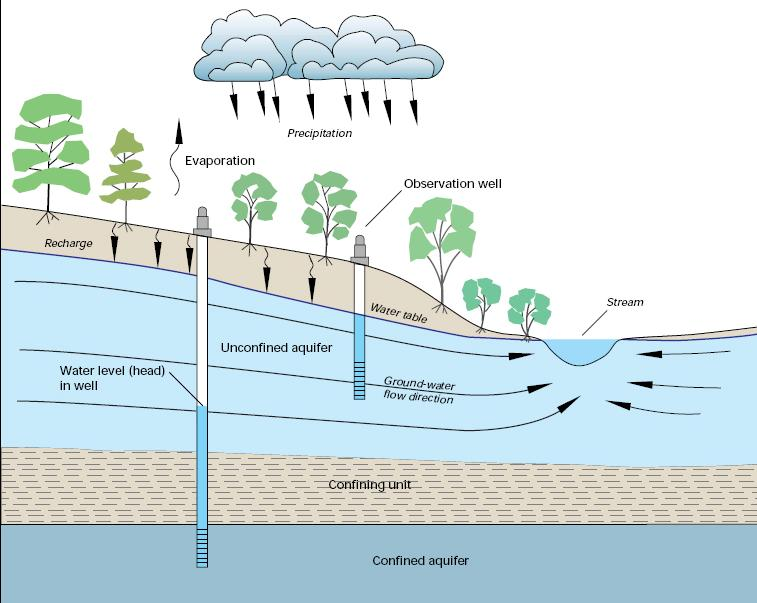 Recharge of groundwater, groundwater flow and interconnection of surface water.